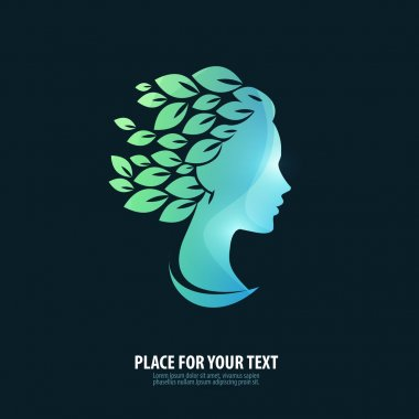 Girl's head. Logo, icon, emblem, template