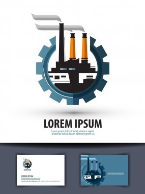 factory, industry. logo, icon, sign, emblem, template, business card