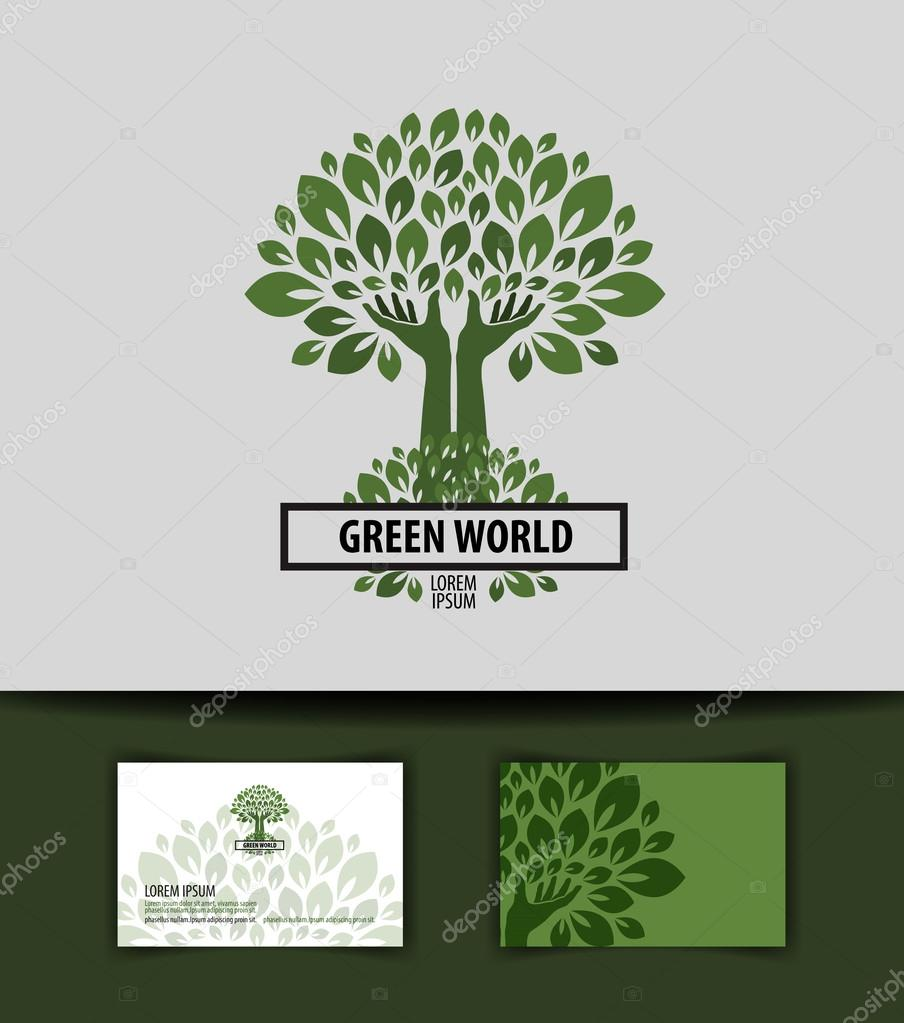 tree. logo, icon, sign, emblem, template, business card