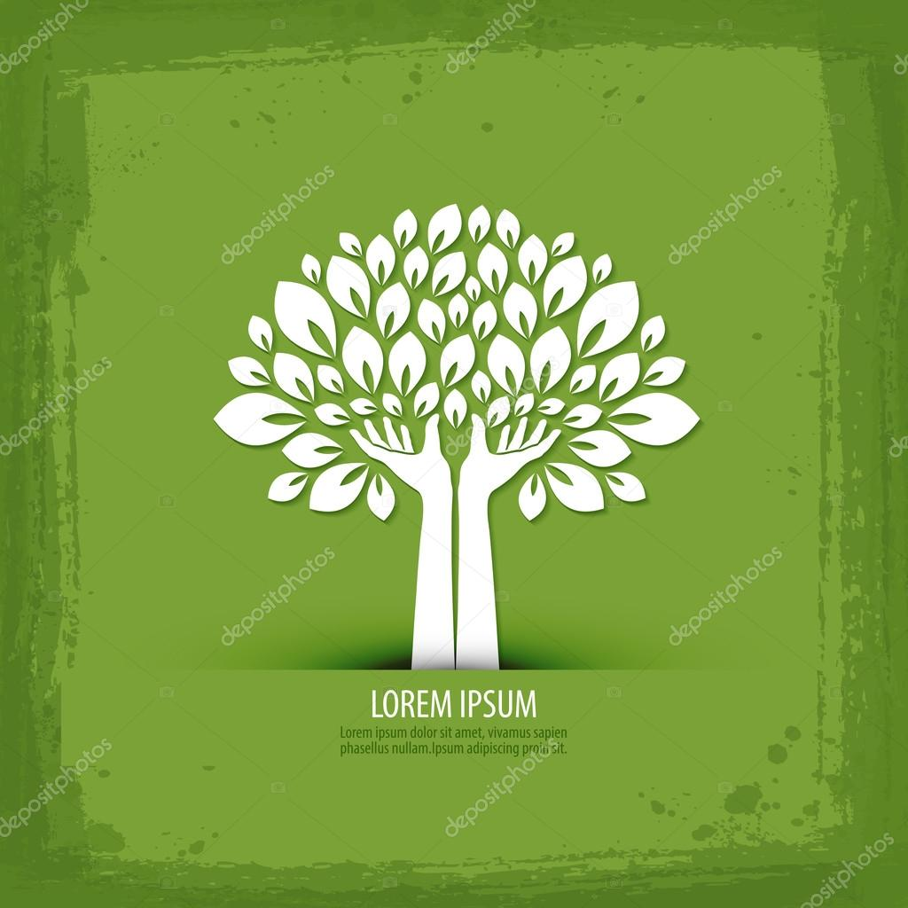 Hands and tree.  logo, icon, sign, emblem, template
