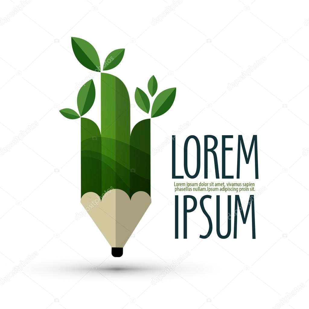 pencil, ecology. logo, icon, sign, emblem, template