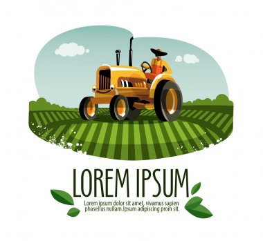 tractor vector logo design template. harvest or farm icon.