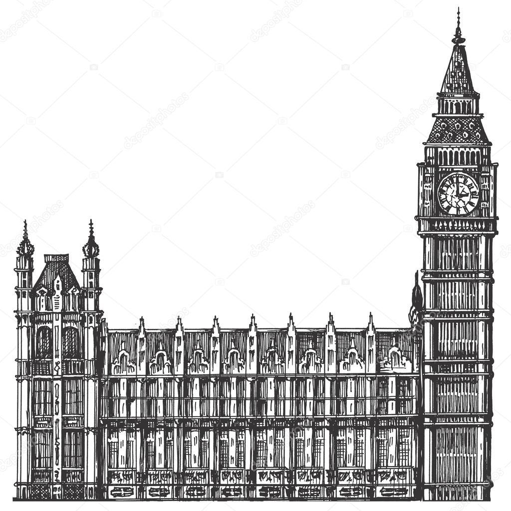 Inglaterra Londres Big Ben Sobre Fondo Blanco Dibujo