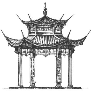 Asia logo design template. Temple or religion icon.