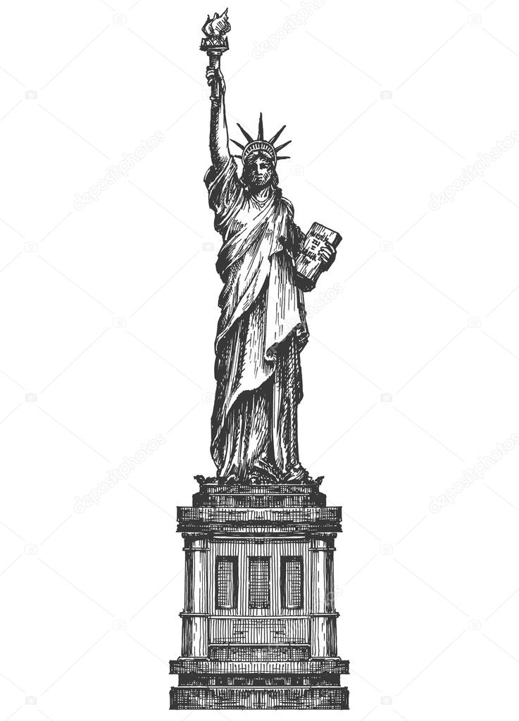 statue of liberty logo design template america or united states
