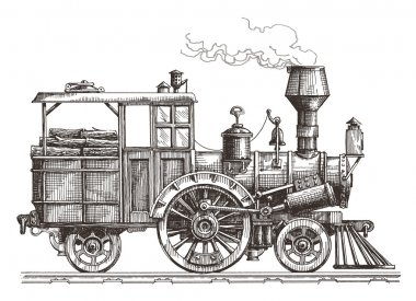 retro train on a white background. sketch