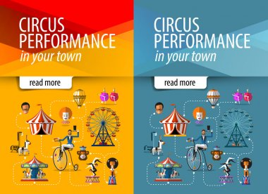Circus vector banner design template. circus show or entertainment icons.