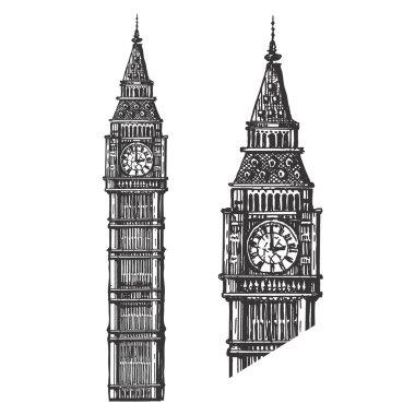 Big Ben vector logo design template. England or London icon.
