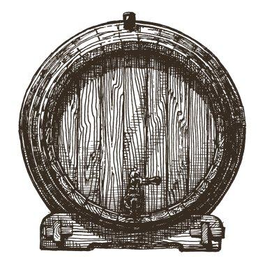 oak barrel vector logo design template. beer or wine icon.