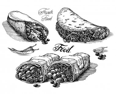 burritos vector logo design template. Mexican restaurant or fast food icon.