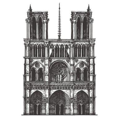 Notre-Dame de Paris vector logo design template. France or travel icon.