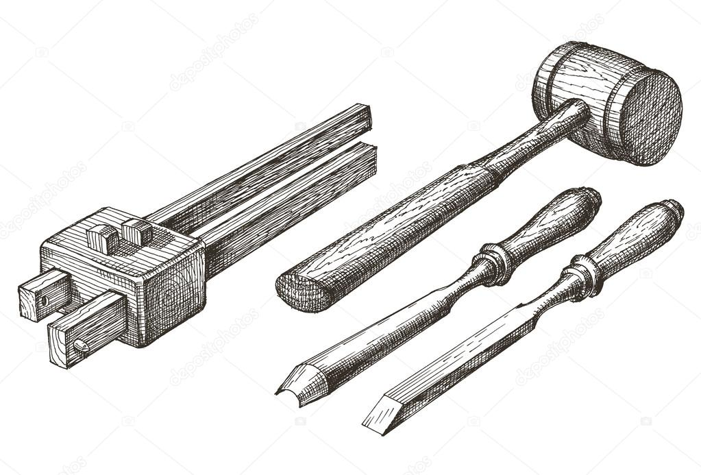Tools vector logo design template. chisel, mallet or surface gauge icon.