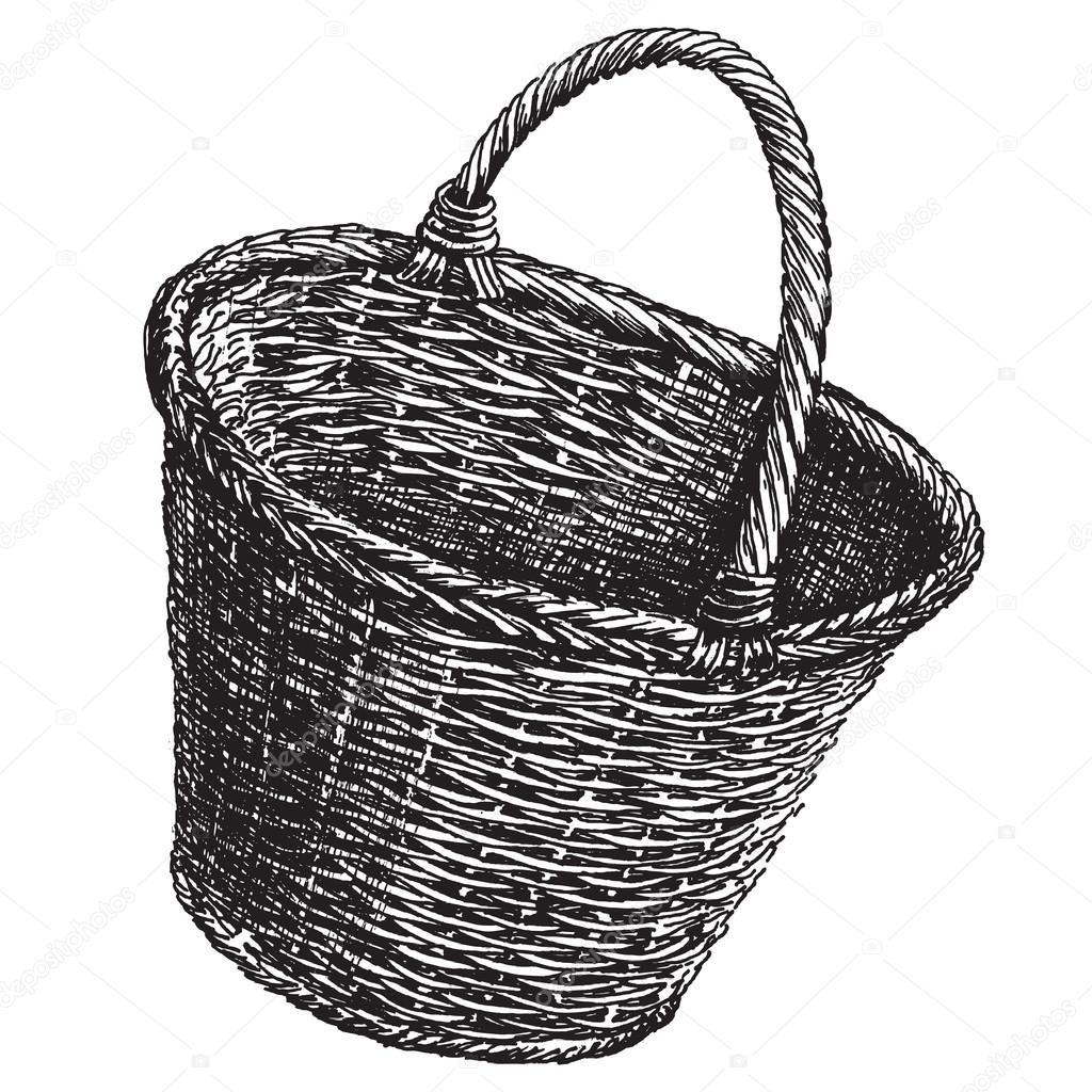mimbre cesta vector logo diseño plantilla. icono de artesanía ...