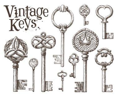 Retro key logo design template