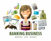 Fotografie bank, stock exchange, business vector logo design template. money, broker, brokerage, stockbroker or businesswoman icon. flat illustration