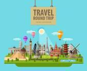 Sommerurlaub Vektor Logo Design-Vorlage. Reisen, Reisen oder Sehenswürdigkeiten der Welt-Ikone. flache Abbildung
