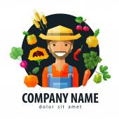 Fotografie Bauer, Fruiterer Vektor-Logo-Design-Vorlage. frische Lebensmittel oder Obst und Gemüse-Symbol. flache Abbildung