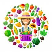 Fotografie Bauer, Fruiterer Vektor-Logo-Design-Vorlage. frische Lebensmittel, Gartenbau, Gartenbau oder Obst und Gemüse-Symbol. flache Abbildung