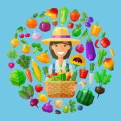 Fotografie frische Lebensmittel. Obst und Gemüse Symbole festgelegt. Bauernhof Mädchen mit einem Korb in den Händen