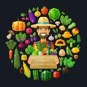 Fotografie frische Lebensmittel. Obst und Gemüse Symbole festgelegt. Landwirt mit einer Kiste in der hand