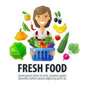 Fotografie frische Lebensmittel-Vektor-Logo-Design-Vorlage. Fruiterer oder Markt-Symbol. flache Abbildung