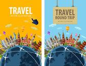 cestování, cesty, cesty vektorové logo šablonu návrhu. Dovolená nebo země světa ikony