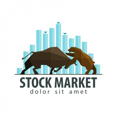 Stock market, business vector logo design template. money, banking or bull and bear icon. flat illustration