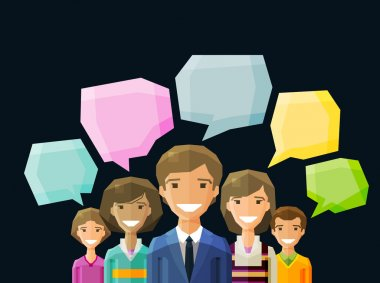 Group of people talking. vector. flat illustration clip art vector