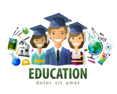 education, schooling vector logo design template. students, graduates or school, college, university icon. flat illustration