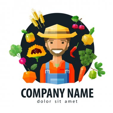 farmer, fruiterer vector logo design template. fresh food or fruits and vegetables icon. flat illustration