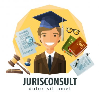 lawyer, attorney vector logo design template. jurist, legal expert, solicitor or jurisconsult icon. flat illustration