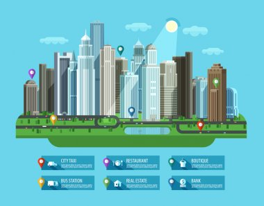 Modern city. Set of elements - building, house, metropolis, road, transport, car, highway, street