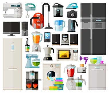 home appliances icons set. set of elements - sewing machine, vacuum cleaner, mixer, computer, fridge, coffee machine, juicer, phone, kettle, washing machine, food processor, toaster, dishwasher, micro