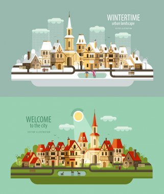 city, town vector logo design template. house, building or village icon.