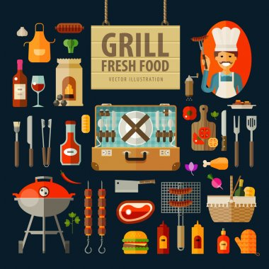 grill, barbecue icons set. set of elements - chef, kitchen tools, suitcase, ketchup, charcoal, bottle of wine, apron, sausage, BBQ, skewer, skewers, knife, meat, sauce, picnic basket, bread