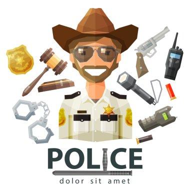 police, law icons. set of elements - gavel, flashlight, shocker, cartridge, portable radio, pistol, handcuffs, badge, policeman