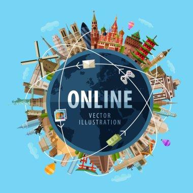 online vector logo design template. Internet or communication icon.