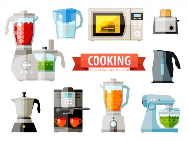 cooking icons. set of elements - food processor, microwave, electric kettle, toaster oven, mixer, kitchen, coffee machine, espresso machine, coffeemaker, blender, jug, water