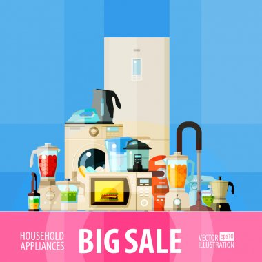 big sale. set of elements - refrigerator, washing machine, vacuum cleaner, food processor, mixer, blender, microwave oven, coffee machine, juicer, jug, iron, electric kettle