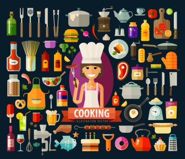 cooking vector logo design template. food preparation or chef icon.