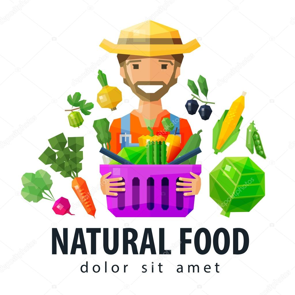 fresh food vector logo design template. vegetables and fruits, gardening, horticulture, farm  or farmer, horticulturist icon. flat illustration