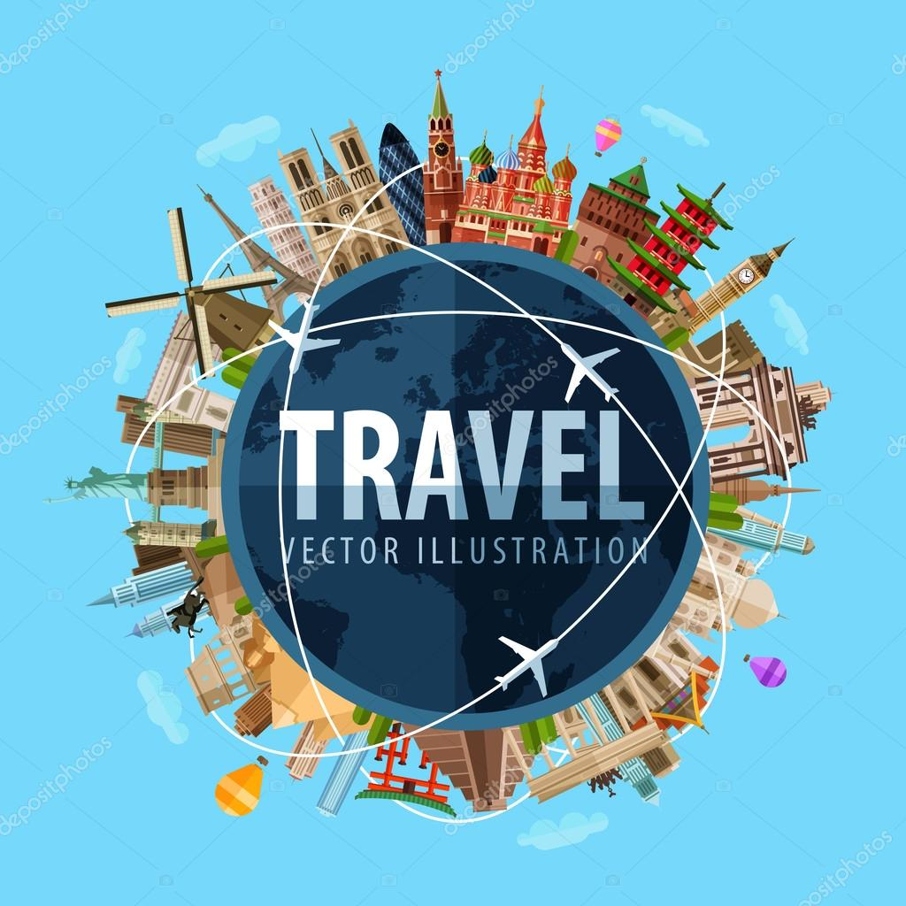 Travel journey vector logo design template world map or rest icon architecture of the countries around the world vector flat illustration vector by sergeypykhonin gumiabroncs Choice Image