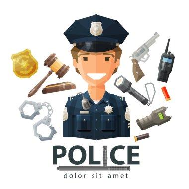 police vector logo design template. policeman, cop or law, constabulary icon