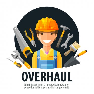 overhaul vector logo design template. worker and tools or builder, constructor, construction company icon
