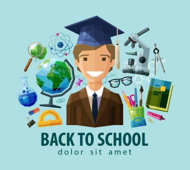 back to school vector logo design template. education, schooling or student, study, science icon. flat illustration