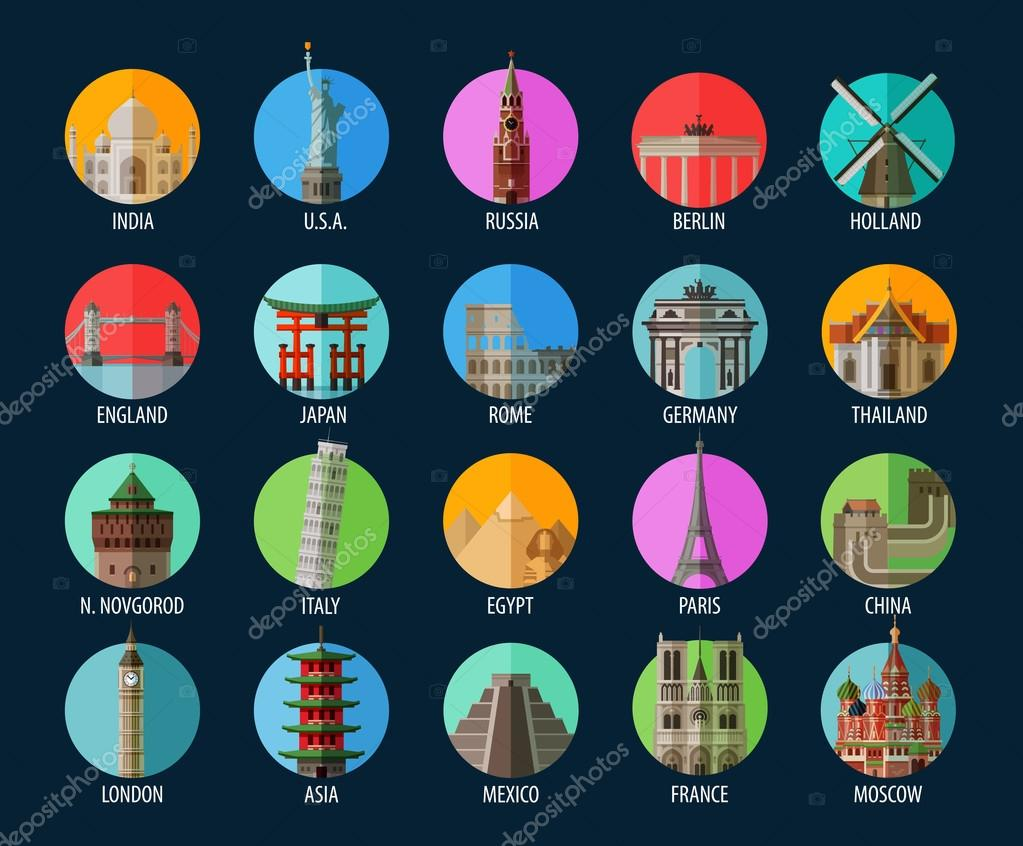Travel. Set of elements - America, India, USA, Russia, Berlin, Holland, England, Japan, Rome, Germany, Thailand, Italy, Egypt, Paris, China, London, Asia, Mexico, France, Moscow