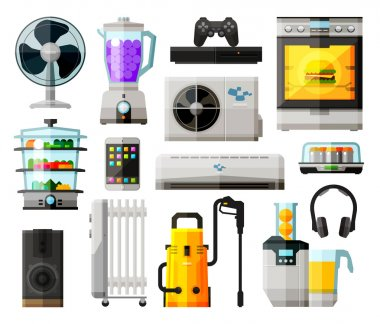 home appliances icons set. collection of elements - fan, blower, mixer, blender, game console, kitchen stove, conditioning, headphones, juice extractor, speaker, radiator, washing machine, tablet, tel