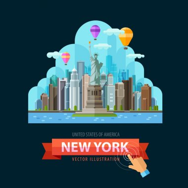 USA vector logo design template. New York city or travel, journey icon.