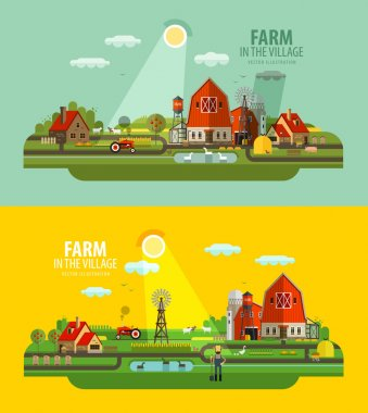 Farm in the village. Set of elements - barn, tractor, animals, building, windy mill, harvest, farming, farmer