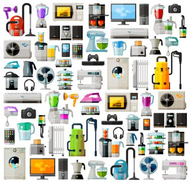 Appliances a set of colored icons. Collection of items - TV, washing machine, vacuum cleaner, computer, phone, headphones, kettle, toaster, game console, iron and other
